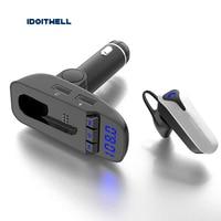 Car radio fm transmitter Bluetooth Earbud bluetooth car kit HD Wireless Headphone handsfree Car Headset with Mic for smart phone