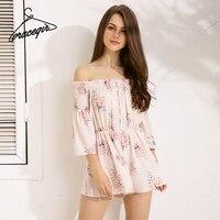Gracegirl 2017 Summer Women Playsuits Series Spring Slash Neck Floral Print Flare Sleeve Sexy Romper Jumpsuit