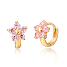 Cute Gold Color Star Five Pink CZ Flower Huggies Small Hoop Earrings For Womens Children Girls Baby Kids Anti-Allergic Jewelry(China)