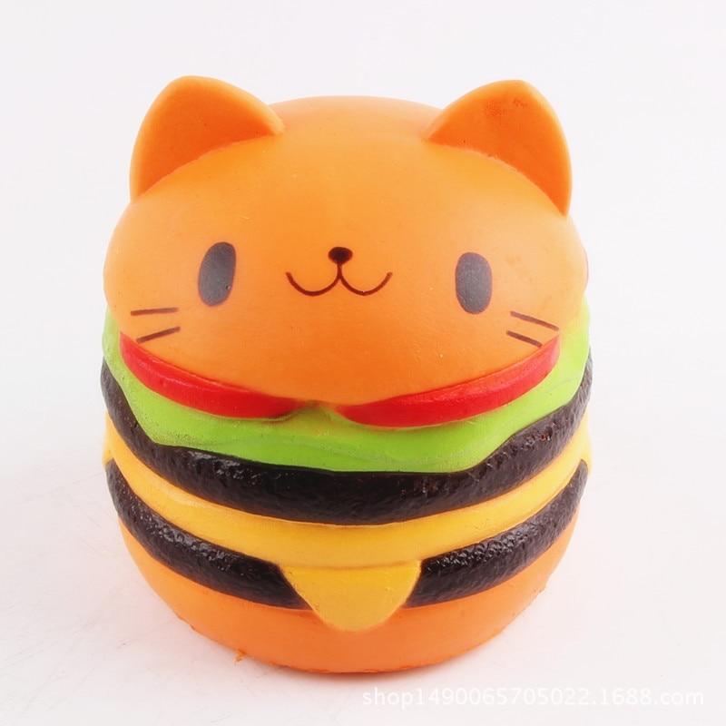 Squishy Slow Ringing Rebound Simulation Lovely Cat Head Hamburger Cake Model Anti Stress Toys Jokes Stretchy Vent Toys Gift