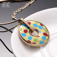 R X Ladies Big Blue Enamel Necklace Pendants Indian Style Chunky Accessories New Design Necklaces Party