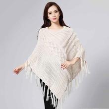 Hot Sale Fashion Women Autumn Winter Knitted Poncho with tassel and rabbit fur beige Warm Pattern Wool Blend Blanket Cloak Cape
