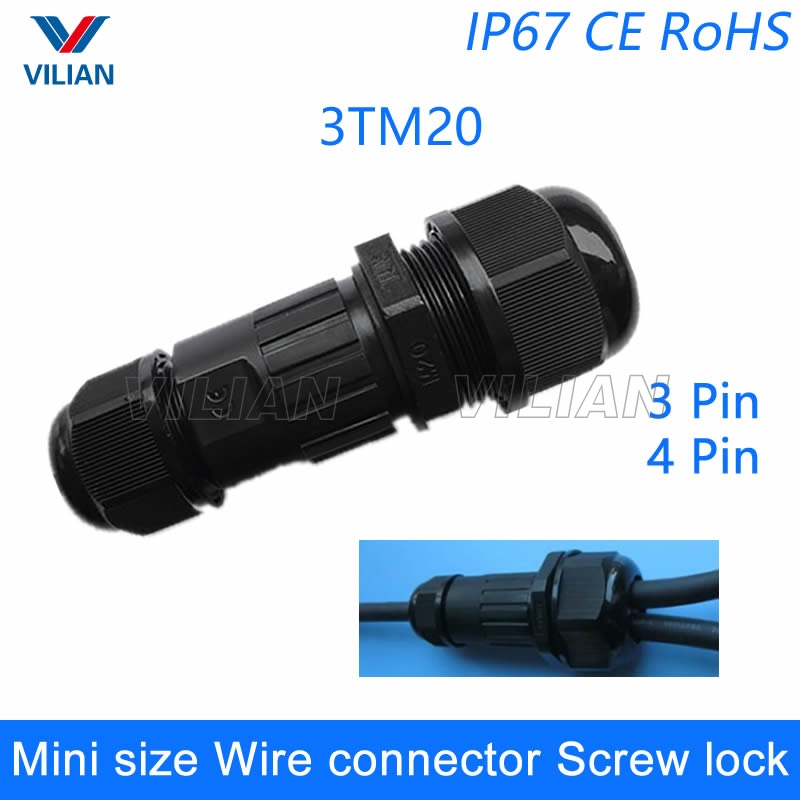 Free Shipping Waterproof 3 Pin 4Pin Electrical Cable Connectors Quick Splice Screw Lock Wire terminals easy fit for LED strip 1u 5pcs t shape 2 pin scotch lock quick splice wire wiring connector for 22 18awg led strip wire car audio cable terminals crimp