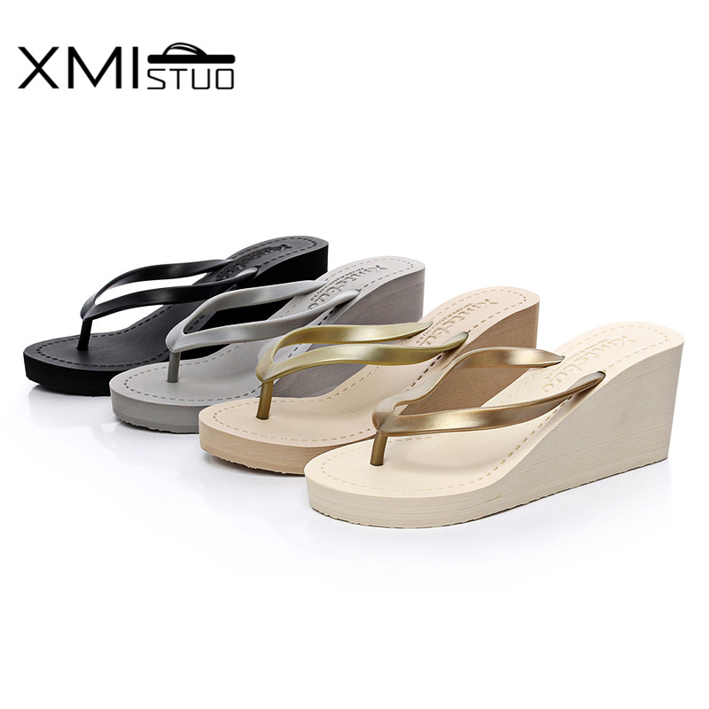 ff63e1b9b67 XMISTUO Women Pu Flip Flops Female Summer Beach Wedges Slippers Water  resistant 7CM High heeled Slippers 4 Color 7076W-in Slippers from Shoes on  ...