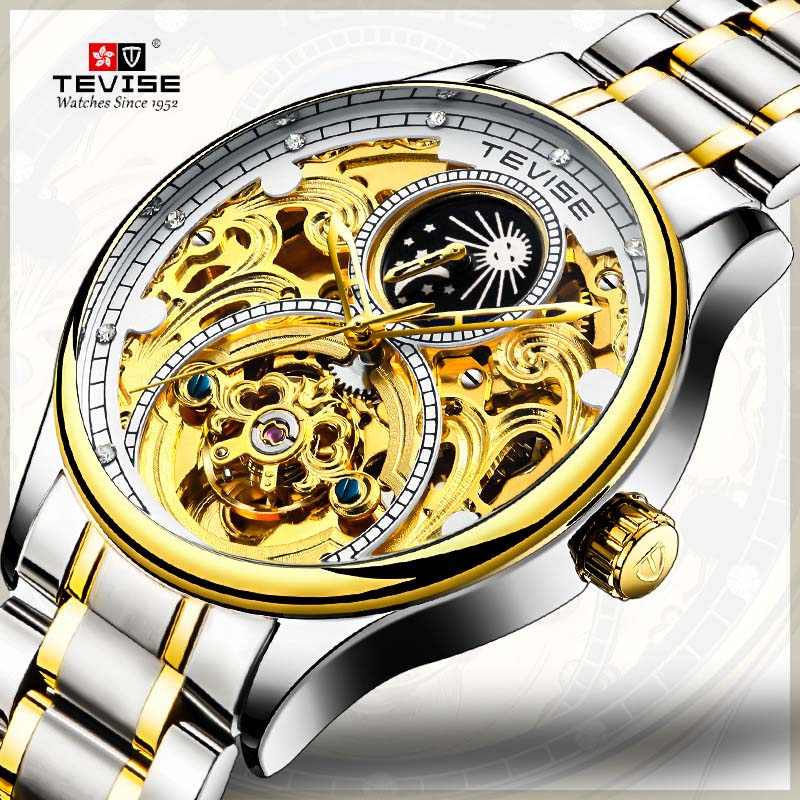 Hot Tevise Brand Men Mechanical Watch Automatic Date Sailboat Watches Fashion Business Man Waterproof Gold Clock Montre Homme 2018 new fashion watch men gold steel watches women hot selling ladies luxury brand rosra wristwatches man clock montre homme