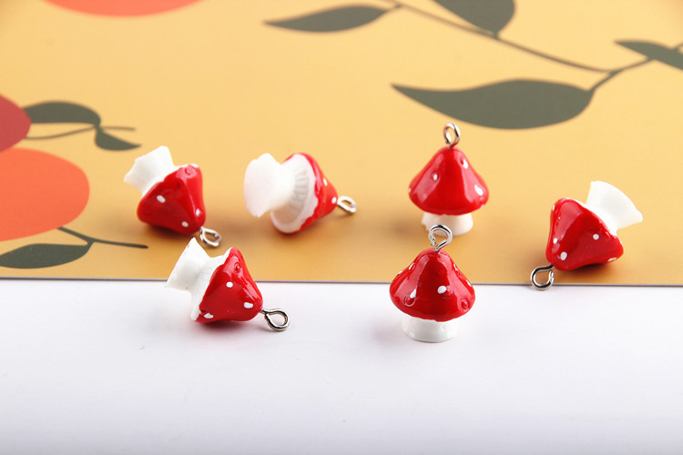 10pcs 3D Mushroom Resin Charms DIY Craft fit for Bracelet  Jewelry Finding handmade 15*22mm 2