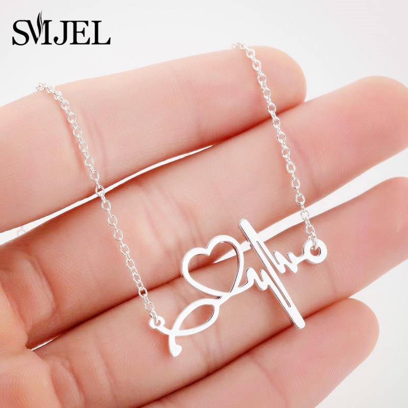 SMJEL Stainless Steel Stethoscope Heart Necklaces Women Doctor Nurse Medical Jewelry ECG Wave Charm Necklace Collier Femme