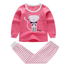 Купить с кэшбэком IYEAL Children Spring Pajamas Clothing Set Boys & Girls Cartoon Sleepwear Suit Set Kids Long-sleeved+Pant 2-Pieces Baby Clothes