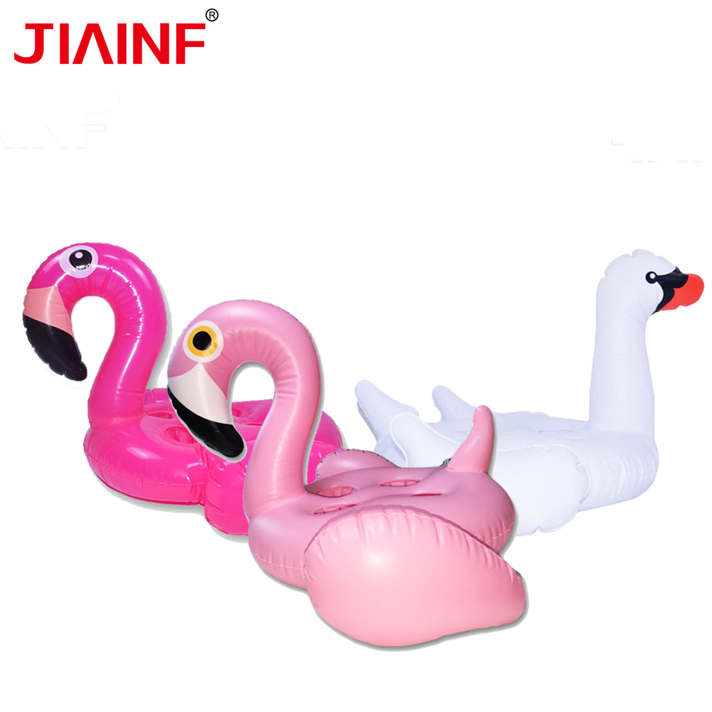 JIAINF Three Types Inflatable Flamingo Swan Cup Drink Holder Boia Flamingo Four Holes Drinks Float Cute Pool Float Summer Toys