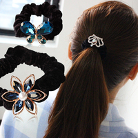 Korean Fashion Flowers Butterfly Pearl Velvet Hair Ring Hair Rope Hair Ornaments Head Flower Jewelry