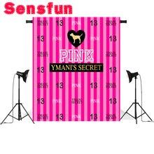 Sensfun serce szczęśliwy 13 urodziny fucsia różowy paski niestandardowe fotografia Studio tła teł winylu 8x8ft