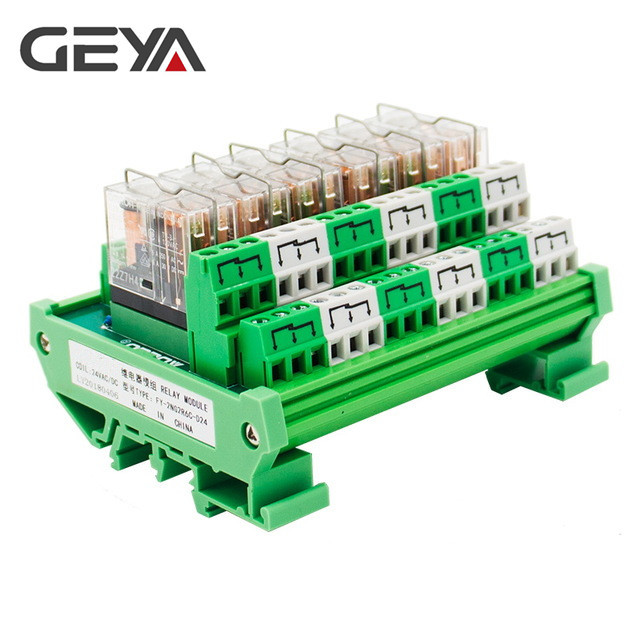 GEYA 2NG2R 6 Channel Relay Board Electronic DPDT PLC 12V 24V AC DC Relay Board 2NO 2NC rotary knob dpdt 2no 2nc 8p 0 30seconds timing time relay dc 24v ah3 2