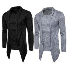 Hot Sale Men's Fashionable Knitted Cardigan Casual Solid Color Long Sleeve Fake 2pcs Fitted Cardigan Knitwear Sweaters