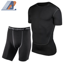 New! Mens Black Quick-dry Tight Soccer Set Male Boys Training Tennis Workout GYM Basketball Top+Shorts Clothing Set Good Quality