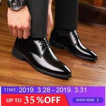 2019 новые брендовые деловые мужские классические туфли на плоской подошве, кожаные модельные деловые туфли, мужские черные оксфорды, свадебные туфли, обувь для вечеринок, LD-91