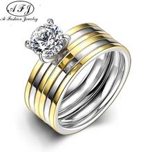 Простые Titanium Стальные Кольца Для Женщин Мода Ювелирные Изделия Обручальные Личную Комбинацию Обещание Романтическая Пара Кольцо