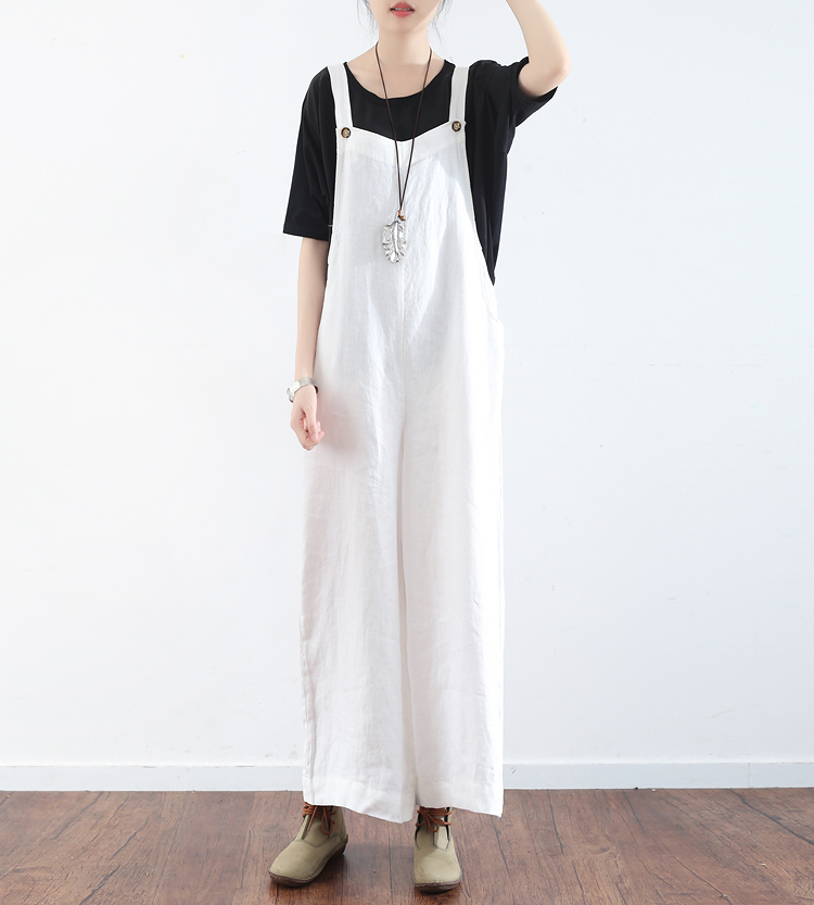 2017 Summer Loose Women Sleeveless Jumpsuits Female Cotton Linen Halter Romper Bodycon Lady White Jumpsuits long pant Playsuit