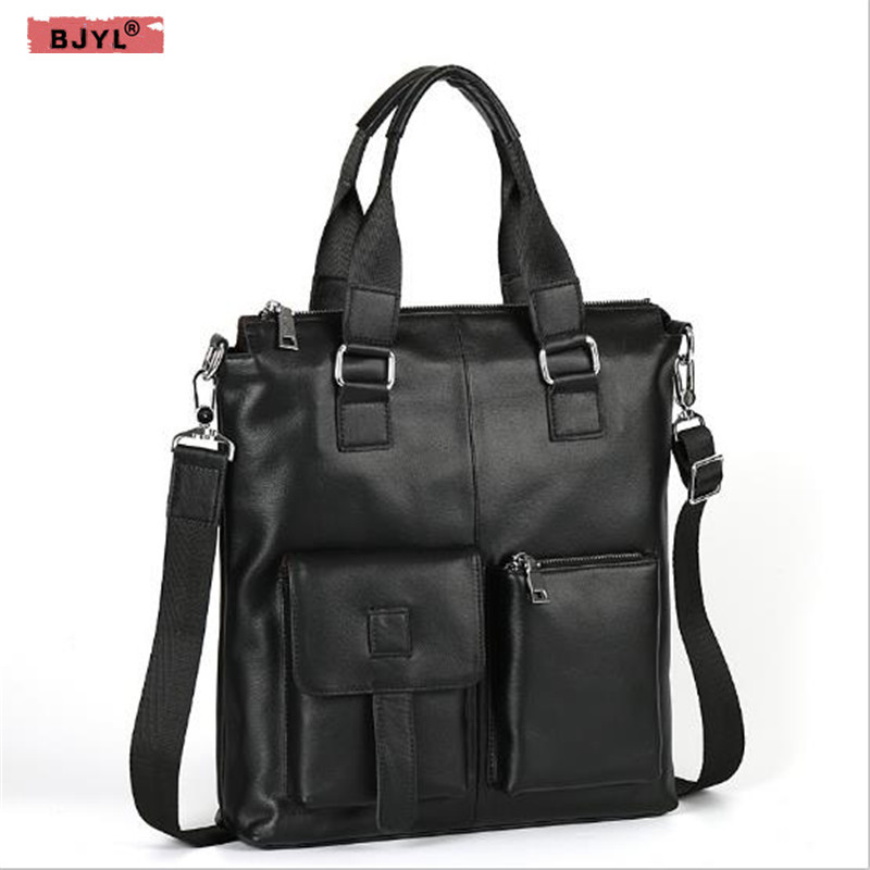 BJYL Men's Handbag Vertical Style Business Document Head Layer Cowhide Portable Genuine Leather Men's Shoulder Messenger Bag