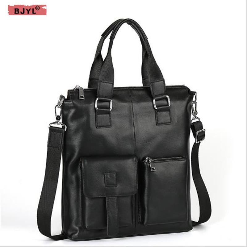 BJYL Men's Handbag Vertical Style Business Document Head Layer Cowhide Portable Genuine Leather Men's Shoulder Messenger Bag