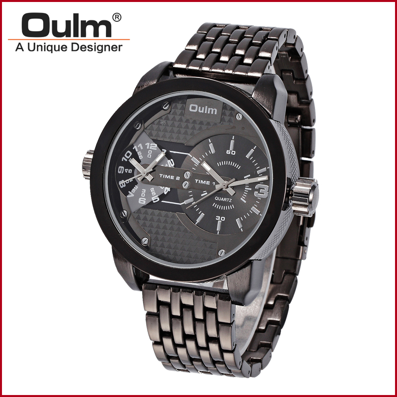 2018 OULM Fashion bracelet watch Men Sport Watch Double Time Zones Steel Wristwatch HT3221 Metal band watch Hight quality watch