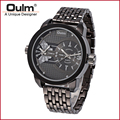 OULM Fashion bracelet watch Big Face Men Sport Vintage Military Designer  bracelet black steel Wristwatch HT3221