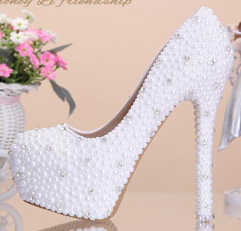 2015 witte parel diamant bruid schoenen hoge waterdichte 14 dunne Hoge hakken enkele schoenen plus size 39 meisje jurk bruiloft Pompen