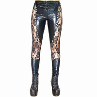Women Sexy Lingerie Latex Leggings Faux Leather Fetish Black Lace Up Leggings Rivets Clubwear Pole Dance Wetlook Gothic Pants