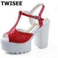 T Strap Platform Ladies Women Shoes Sandals Buckle Strap Spring Sandals Pu Leather Sexy Extrem High