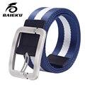De Nylon de lona para los hombres cinturones de diseño hombres de alta calidad mens cinturones de lona rayado BAIEKU militar marca freeshipping