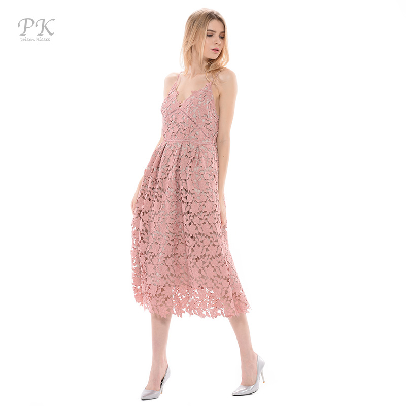 PK light blue lace dress summer 2018 padded hollow out long party vintage  girls lace dresses women clothing girl lace dress long-in Dresses from  Women s ... 115134c10