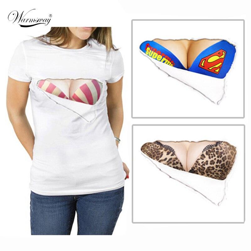 Envío El Pezón 2017 Moda camisa de la Impresión 3D camiseta Divertida Fake Pecho