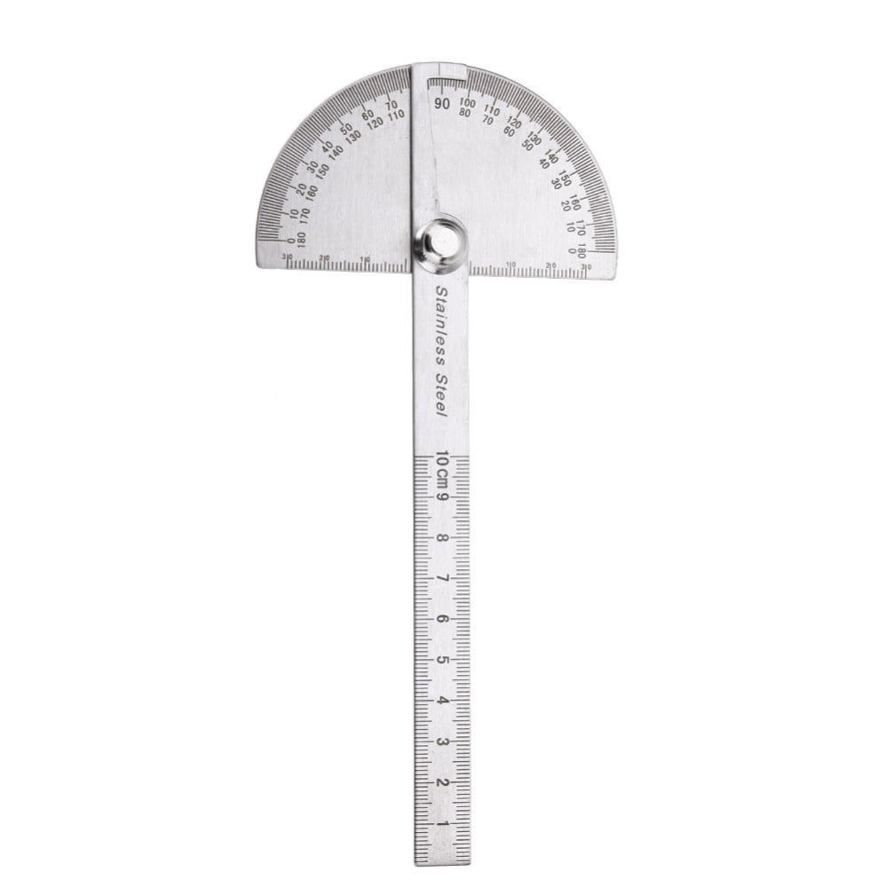 Rozsdamentes acél 180 fokos szögmérő szögmérő Rotációs mérő vonalzó szögmérő famegmunkáló szerszámokhoz