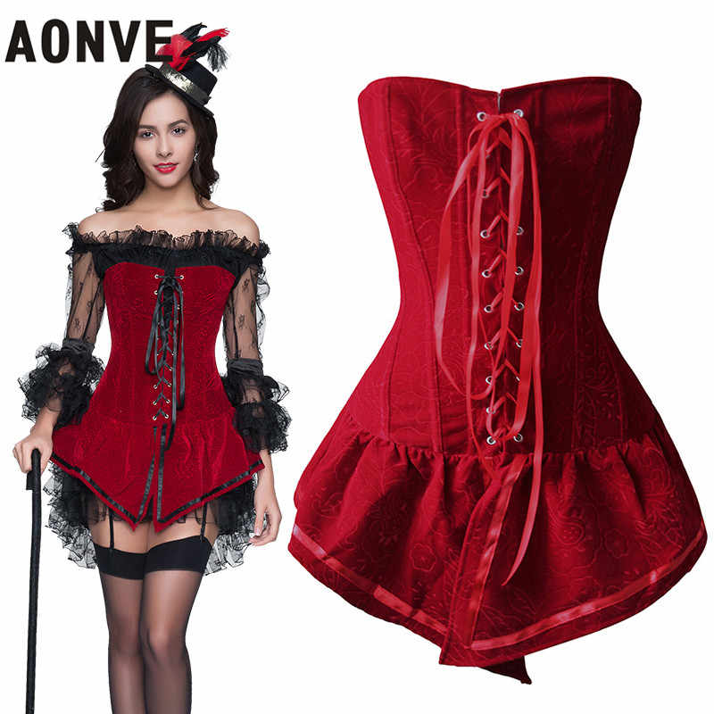 9526f19282 ... AONVE Steampunk Corset Sexy Gothic Corsets Dresses Waist Trainer Lace up  Stripe For Paty Cosplay Corselet ...