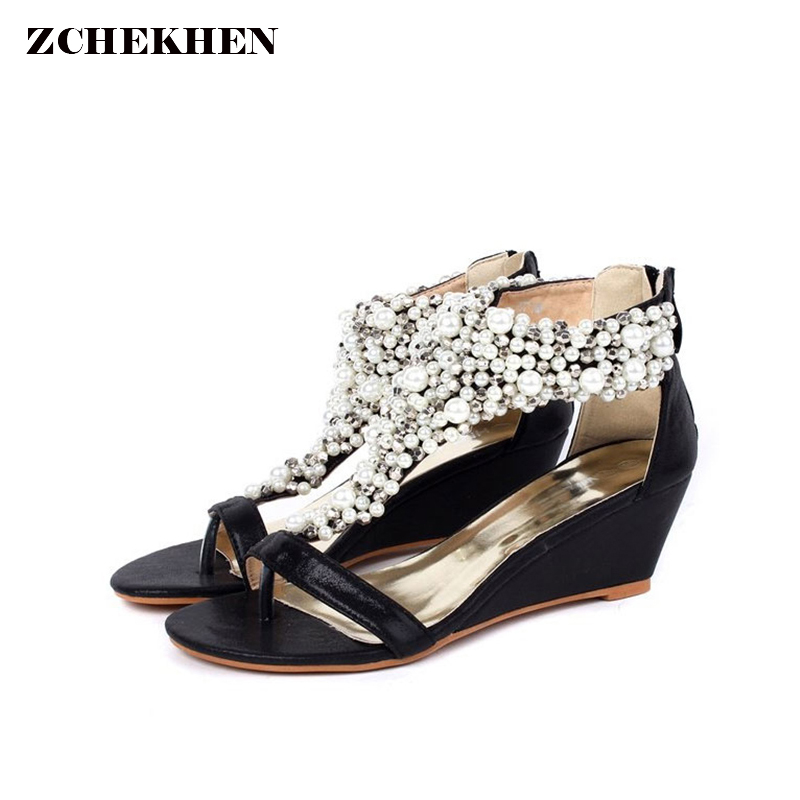 06925241ea90c Women Sandals Rhinestone Sandals Luxury Shoes 2018 Beading Summer Wedge  Bottom Sandals bling Wedding Shoes-in Women s Sandals from Shoes on  Aliexpress.com ...