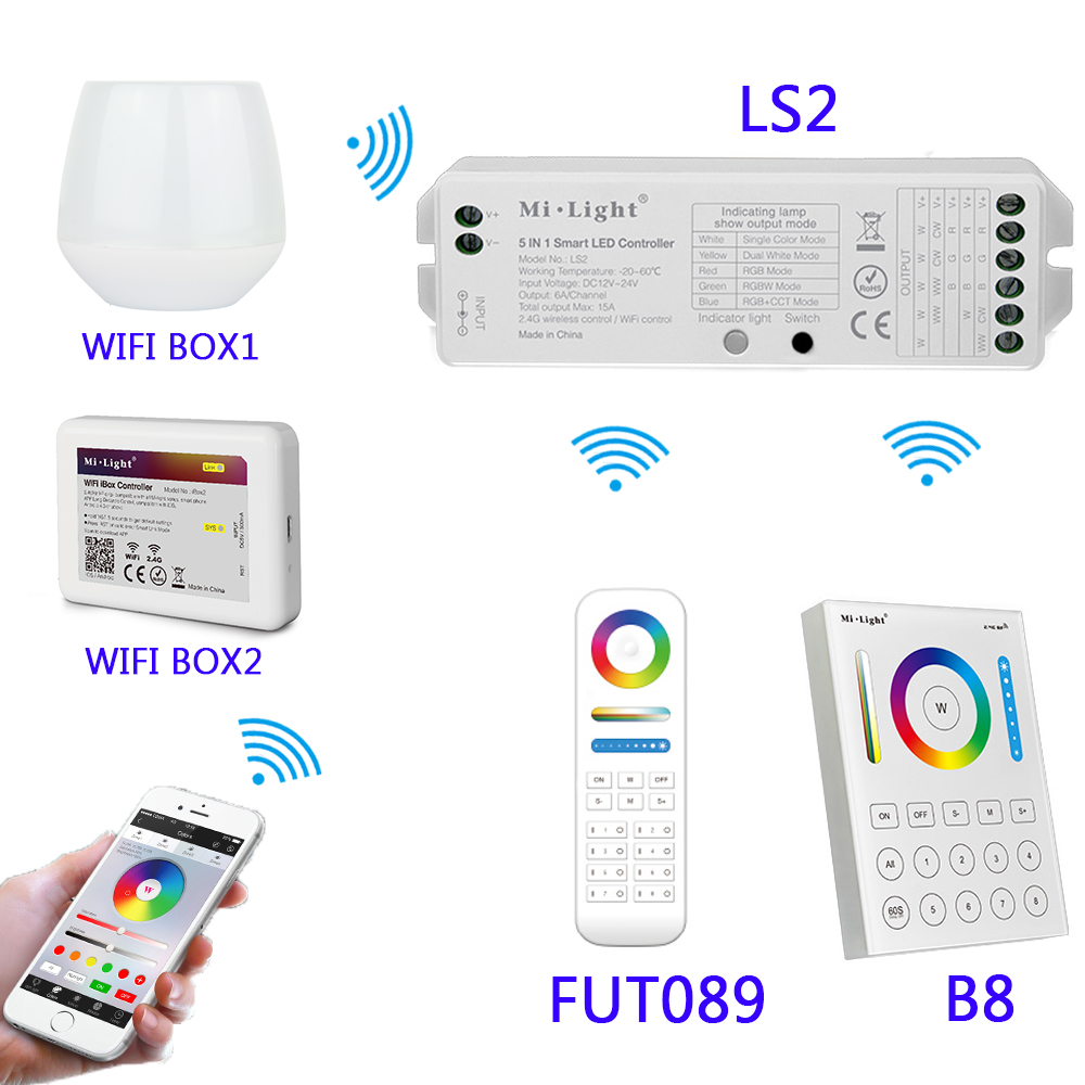 B8 Wall-mounted Touch Panel;FUT089 8 Zone remote RF dimmer;LS2 5IN 1smart led controller for RGB+CCT led strip MiLight milight wireless ls2 5in1 smart led controller b8 wall mounted touch panel control rgb cct led strip 8 zone rf remote controller
