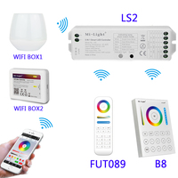 B8 Wall mounted Touch Panel;FUT089 8 Zone remote RF dimmer;LS2 5IN 1smart led controller for RGB+CCT led strip MiLight