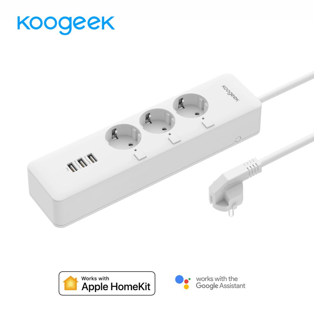 Koogeek WiFi Smart Outlet Surge Protector Individually Controlled 3 outlet Power Strip for Apple HomeKit Alexa Google Assistant 翻轉 貓 砂 盆