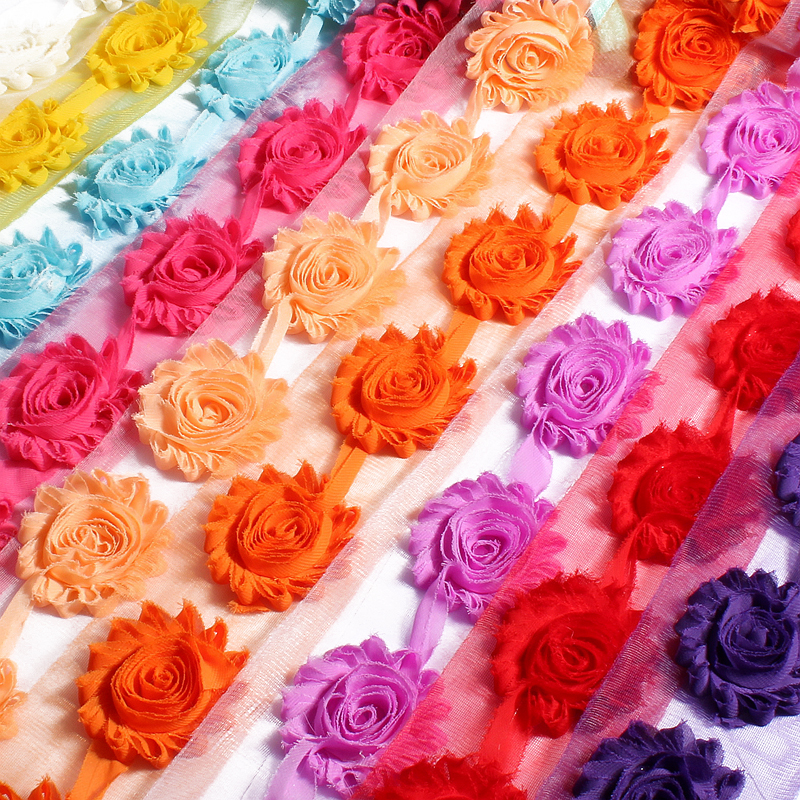 1Yard 2.6 15 colors Fashion Chic Shabby Chiffon Flowers For Children Hair Accessories 3D Fabric Flowers for diy Ornaments 2 shabby chiffon flower fabric flowers yard lace trim diy hair accessories
