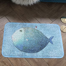 Big fish small house cartoon style PVC Silk loop mat non-slip waterproof bathroom carpet Door entrance Soft elasticity rug