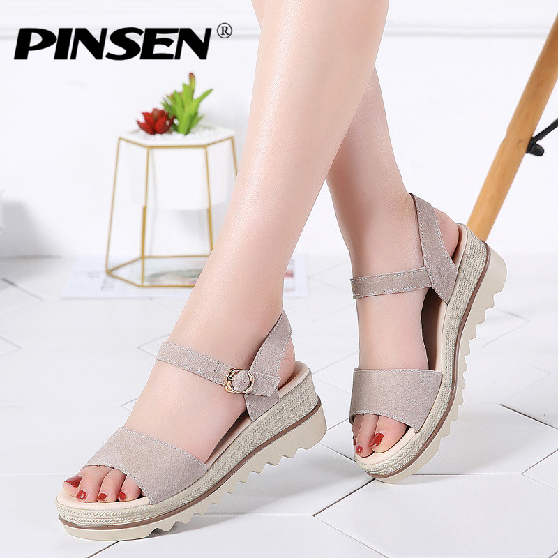 PINSEN 2019 New Women Sandals Black Flat Sandals Wedges Heel Summer Women Open Toe Platform Sandalias Ladies Sandalias mujer