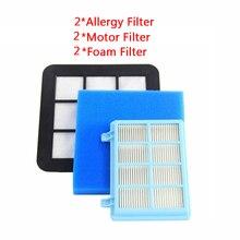 6 個洗えるフィルターキットフィリップスパワープロコンパクト FC9331/09FC9332/09 FC8010/01 真空クリーナーモーター泡アレルギーフィルター