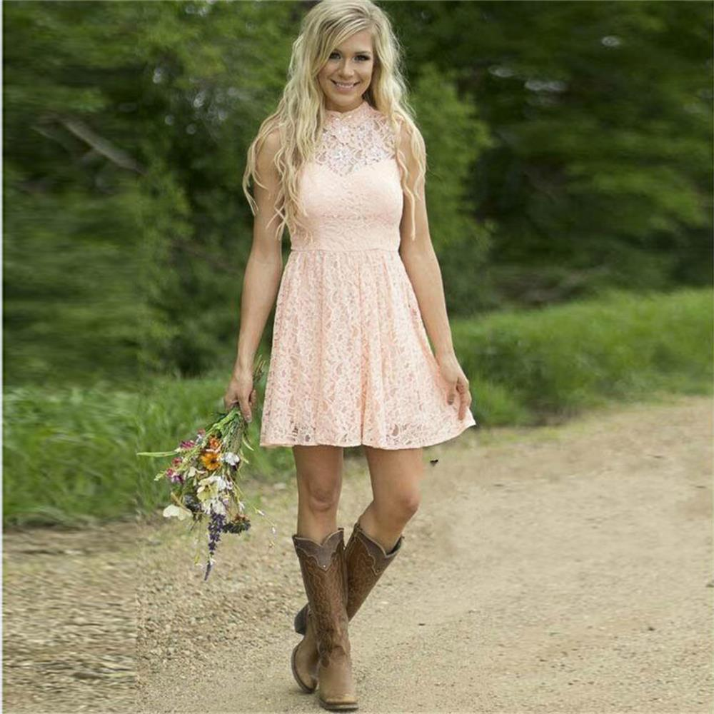 Modest Country Western Full Lace Peach Short Lace font b Bridesmaid b font font b Dresses