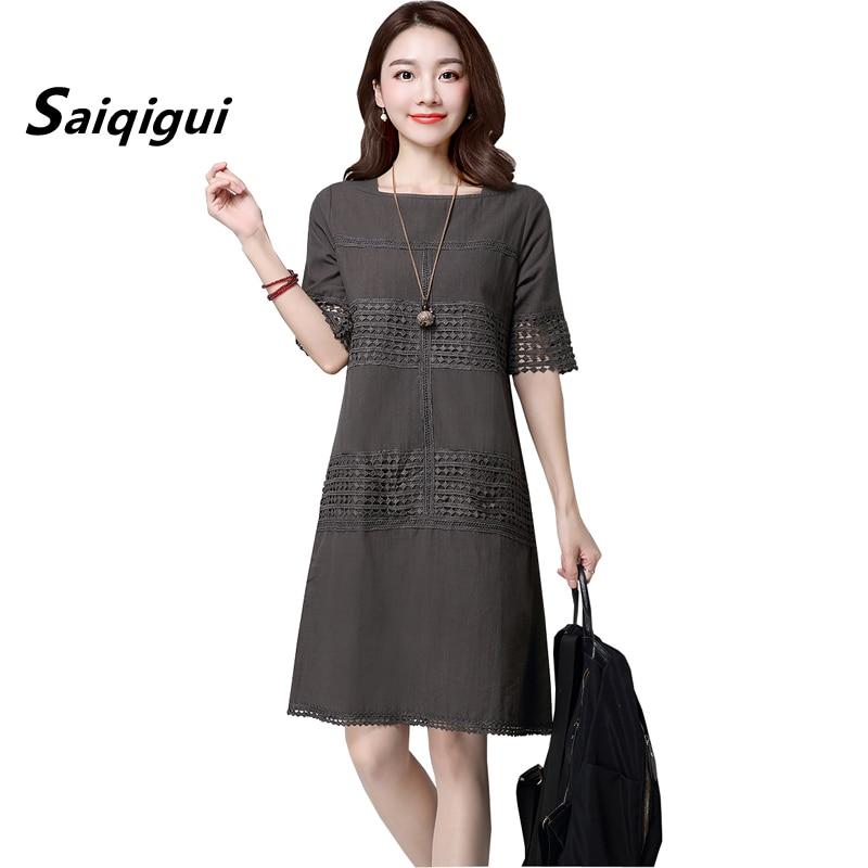 Saiqigui 2019 Summer Dress O- Neck Solid Short Sleeve A-Line Cotton Linen Dress Hollow Out Vintage Loose Women Dress