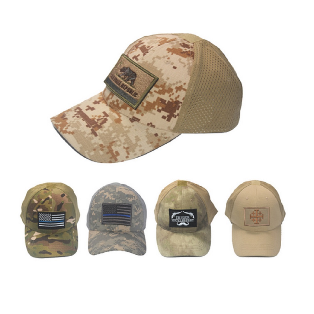 1ks vysoce kvalitní armádní fanoušci kamufláž klobouk síťovina prodyšná sluneční clona taktická čepice + záplaty americké vlajky přizpůsobit