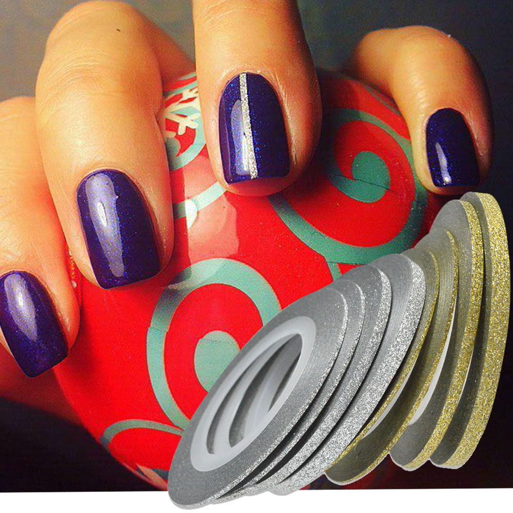 Gold Striping Tape Nail Art: 1 Rolls Nail Art Glitter Striping Tape Line Laser Shinning