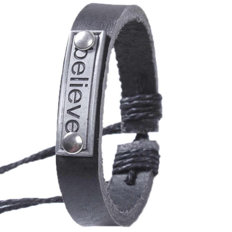 """Винтаж """"Believe"""" Пояса из натуральной кожи Регулируемый Обёрточная Бумага браслет манжеты ювелирные изделия Браслеты кожаный браслет для Для женщин человек lederen повязки"""
