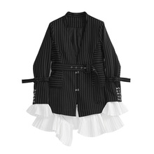 2019 Spring New Suit Outer Detachable Corrugated Hem-off Horn Cuff Women Tide Black V-Neck Striped Jackets and Coats
