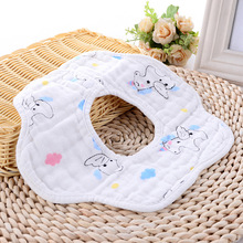 Cotton Cartoon Baby Saliva Towel, 8-layer Gauze Bibs. Comfortable Breathable Burp Cloths