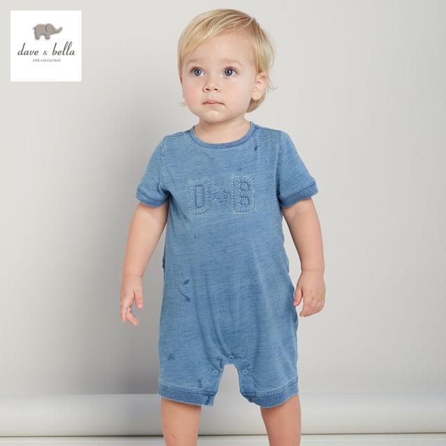 DB3090 dave bella bebé del verano sólido mameluco infantil mameluco del paño azul chicos mamelucos toddle 1 unid babi