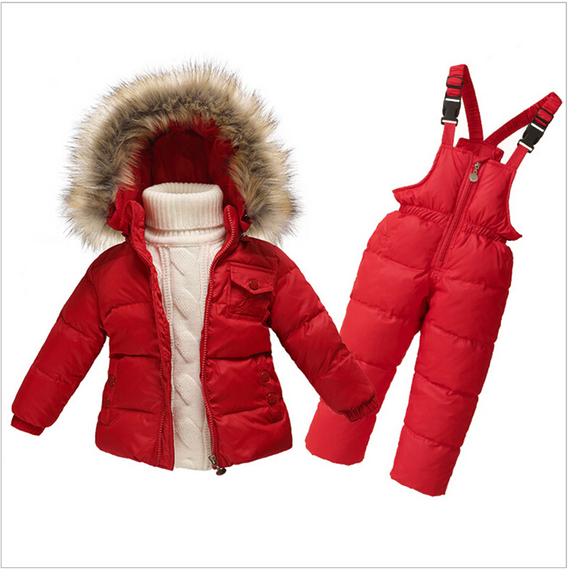 Children Snowsuit Infant Boy Girl's Winter Hooded Snow Wear Faux Fur Collar Toddler Girls Outwear Down Jacket Thermal Jumpsuits